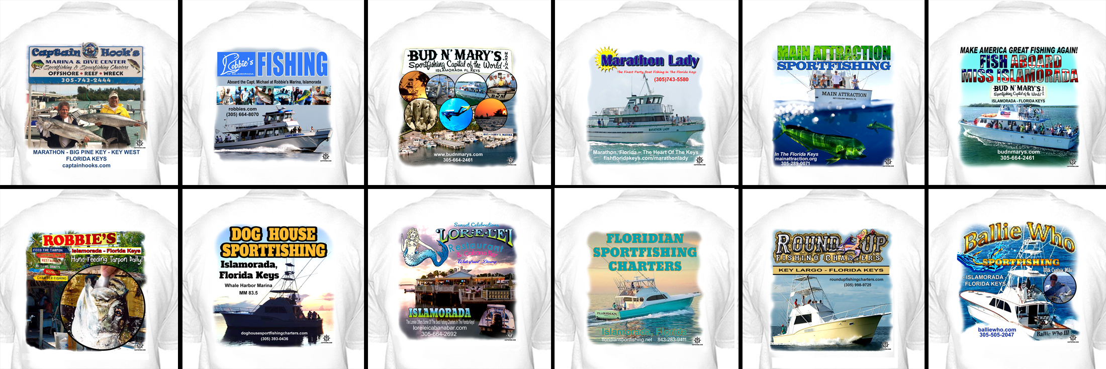 Examples of Capt'n Tom's Custom T-Shirts