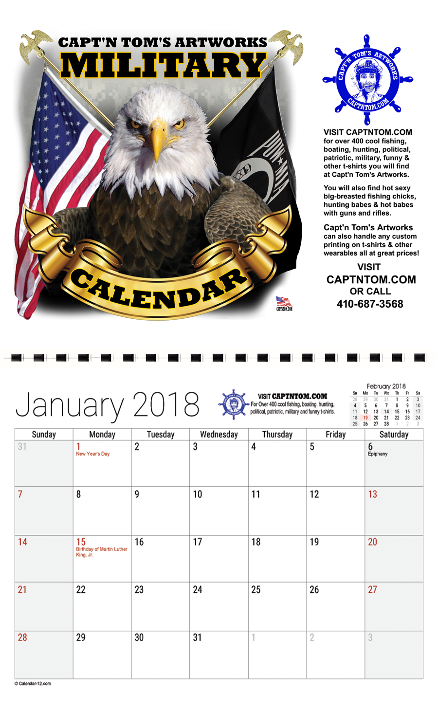 This calendar features 12 military t shirt designs by Capt'n Tom's