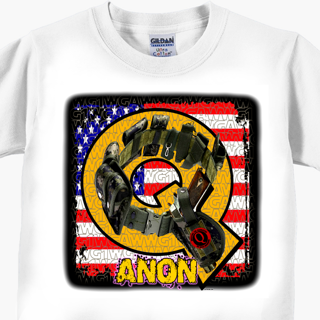 Q ANON Tactical Belt, Colt M1911 and Flag T-Shirt